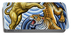 Wild Lion And Tiger  Portable Battery Charger