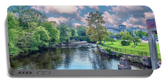 Willimantic River With Clouds Portable Battery Charger