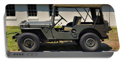 Portable Battery Charger featuring the photograph Willys Jeep Usa With Canopy At Fort Miles by Bill Swartwout Fine Art Photography