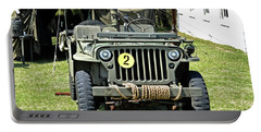 Portable Battery Charger featuring the photograph Willys Jeep With Machine Gun At Fort Miles by Bill Swartwout Fine Art Photography