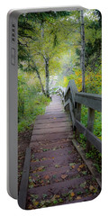 Winding Stairs In Autumn Portable Battery Charger