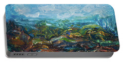 Portable Battery Charger featuring the painting Windy Day In The Grassland. Original Oil Painting Impressionist Landscape. by OLena Art Brand
