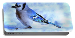 Winter Bluejay   ..digital Painting Portable Battery Charger