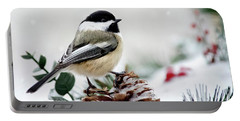 Portable Battery Charger featuring the photograph Winter Chickadee by Christina Rollo