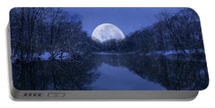 Winter Night On The Pond Portable Battery Charger