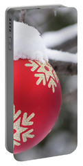 Portable Battery Charger featuring the photograph Winter Scene - Red Christmas Ball Outside, With Snow On It by Cristina Stefan