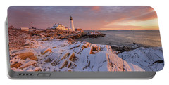 Winter Sunrise At Portland Head Light Portable Battery Charger