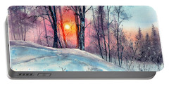 Winter Woodland In The Sun Portable Battery Charger