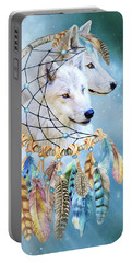 Portable Battery Charger featuring the mixed media Wolf Dreams by Carol Cavalaris