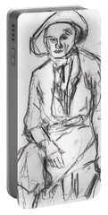 Woman In A Hat Drawing Portable Battery Charger