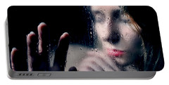 Woman Portrait Behind Glass With Rain Drops Portable Battery Charger