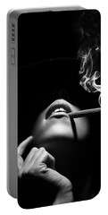 Woman Smoking A Cigar Portable Battery Charger