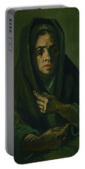 Woman With A Mourning Shawl Portable Battery Charger