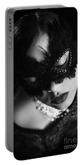 Woman With Elegant Mask Portable Battery Charger