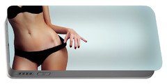 Woman With Perfect Figure And Skin.  Portable Battery Charger