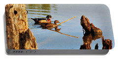 Portable Battery Charger featuring the photograph Wood Ducks by Debbie Stahre