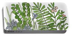Woodland Ferns Violets Nature Illustration Portable Battery Charger