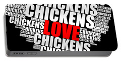Word Cloud White Love Chickens Portable Battery Charger