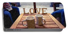 Word Love Next To Two Cups Of Coffee On A Table In A Cafeteria,  Portable Battery Charger