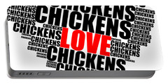 Wordcloud Love Chickens Black Portable Battery Charger