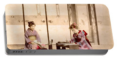 writing  Handcolored japanese albumen print from a tourists album of the early 20th century  Portable Battery Charger