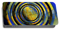 Yellow And Blue Metal Circles Portable Battery Charger