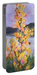 Portable Battery Charger featuring the painting Yellow Blaze by Wendy Ray