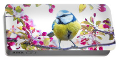 Yellow Blue Bird With Flowers Portable Battery Charger