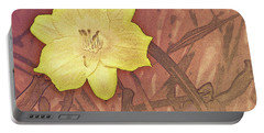 Yellow Day Lily Stencil On Sandstone Portable Battery Charger