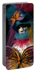 Portable Battery Charger featuring the photograph Yellow Pink Blue Butterfly by Donna Corless