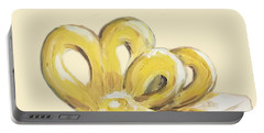 Portable Battery Charger featuring the painting Yellow Present by Maria Langgle