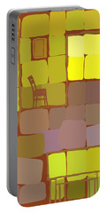 Portable Battery Charger featuring the digital art Yellow Room by Attila Meszlenyi