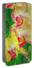 Yellow/rouge Orchids Portable Battery Charger