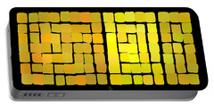 Portable Battery Charger featuring the digital art Yellow Triptych by Attila Meszlenyi