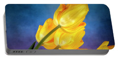 Yellow Tulips On Blue Portable Battery Charger