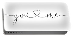 You And Me Black And White Portable Battery Charger