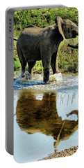 Young Elephant Playing In A Puddle Portable Battery Charger
