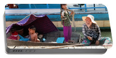Young Girl With Snake 2, Cambodia Portable Battery Charger