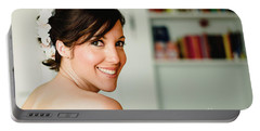 Young Woman From Behind Smiling Portable Battery Charger