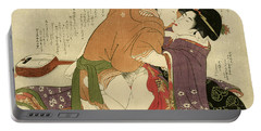 Young Woman With Lover And A Shamisen, 1799 Portable Battery Charger