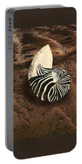 Zebra Nautilus Shell On The Sand Portable Battery Charger