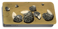 Zebra Nautilus Shells On The Beach  Portable Battery Charger