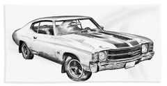 1971 Chevrolet Chevelle Ss Illustration Beach Sheet