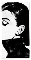 # 4 Audrey Hepburn Portrait. Beach Towel by Alan Armstrong