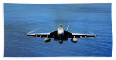 Beach Towel featuring the photograph  A Fa-18 Hornet Demonstrates Air Power. by Paul Fearn