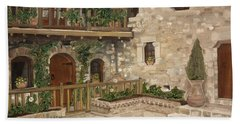 Beach Towel featuring the painting Greek Courtyard - Agiou Stefanou Monastery -balcony by Jan Dappen