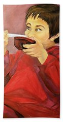 Beach Sheet featuring the painting  Asian  Doll by Sharon Duguay