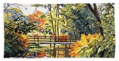 Autumn Water Bridge Beach Sheet