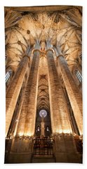 Basilica Of Santa Maria Del Mar In Barcelona Beach Towel