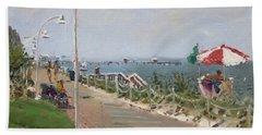 Beach Border Walk In Norfolk Va Beach Towel
